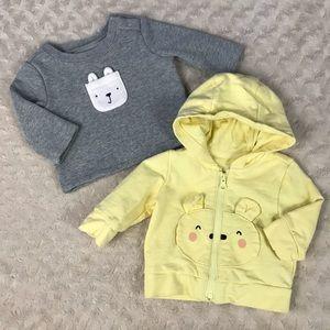 Baby Gap Bundle Bear Sweatshirt Top Light Jacket